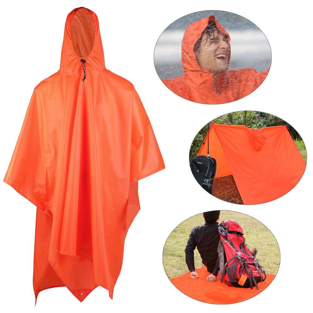 Aodoor Orange Raincoat, 3 in 1 Multi-function Waterproof Poncho Rainwear for Hunting, Camping,Fishing