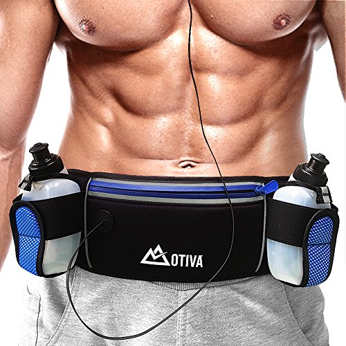 Running Belt With Zipper Pockets, Durable Waist Belt, Two 6oz BPA-Free Water Bottles, Adjustable Fitness Workout Belt For Sports, Hiking, Walking & For iPhone, Samsung & Other Smartphones by OTIVA
