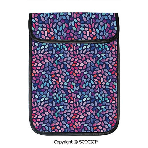 SCOCICI Protective Storage Carrying Sleeve Case - Colored Mosaic of Blooming Flower Petals Funky Artful Paintbrush Effect Decorative Compatible with 12.9 Inch iPad Pro Tablet