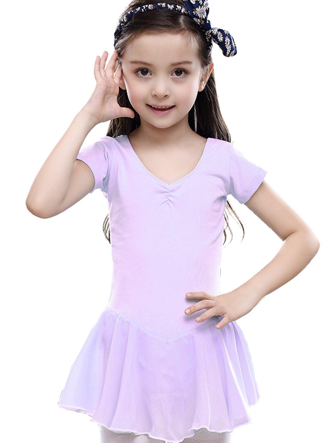 Feoya Mädchen Balletttrikot Kurzarm Ballettkleid Ballettanzug Gymnastikanzug Ballettröckchen Tanzleotard-Gelb