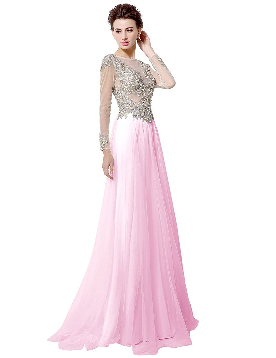 Sarahbridal Women's Long Sleeve See Through Prom Evening Dresses Wedding Party Gowns with Beaded Applique SLX041