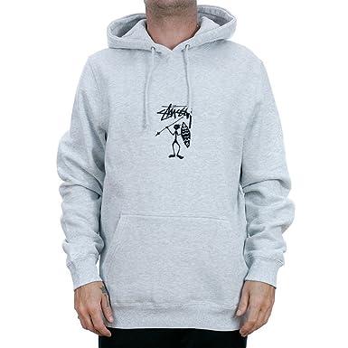 Stussy Tribe Man Applique Hooded Sweatshirt Grey Heather  Amazon.co ... a2105ceffc19