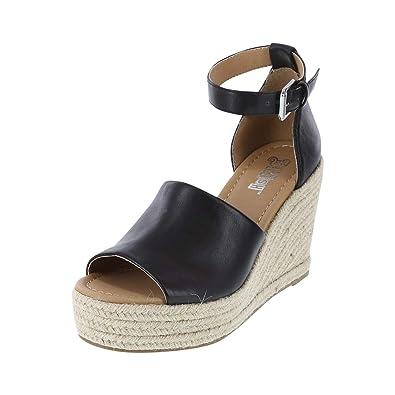 a925a629549 Brash Black Smooth Women s Swerve Espadrille Wedge Sandal 7 Regular