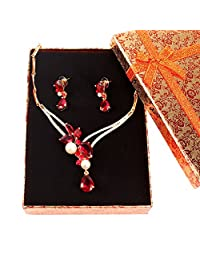Fashion Pearl Ruby Crystal Pendant Wedding Necklace Earrings African Beads Bridal Party Dress Accessories Jewelry Sets