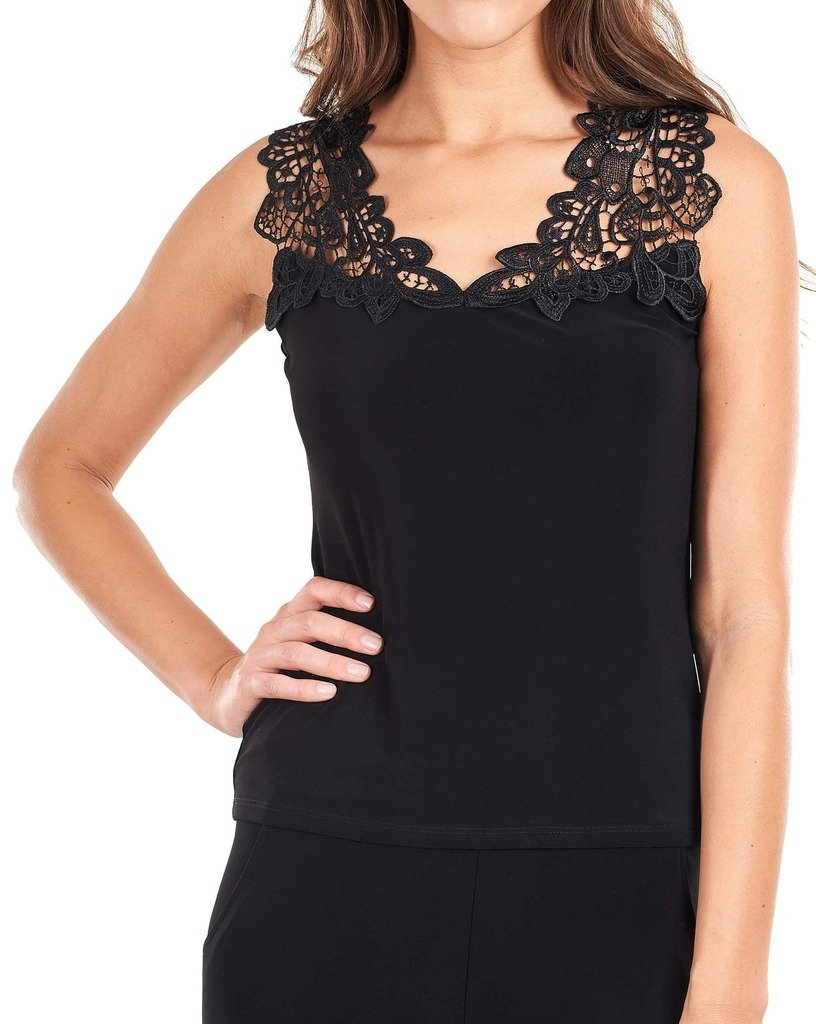 Joseph Ribkoff Black Cami Top with Lace Upper Bodice Style 161122B - Size 12