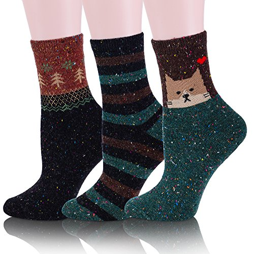 ProEtrade Women Soft Cute Leopard Pattern Casual Cartoon Socks - 3 Pairs (Cartoon Pattern Casual)