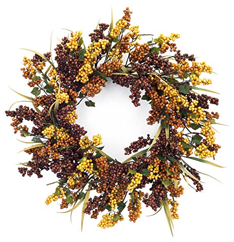 "Melrose International Berry Wreath, 26"", Amber/Brown/Yellow"