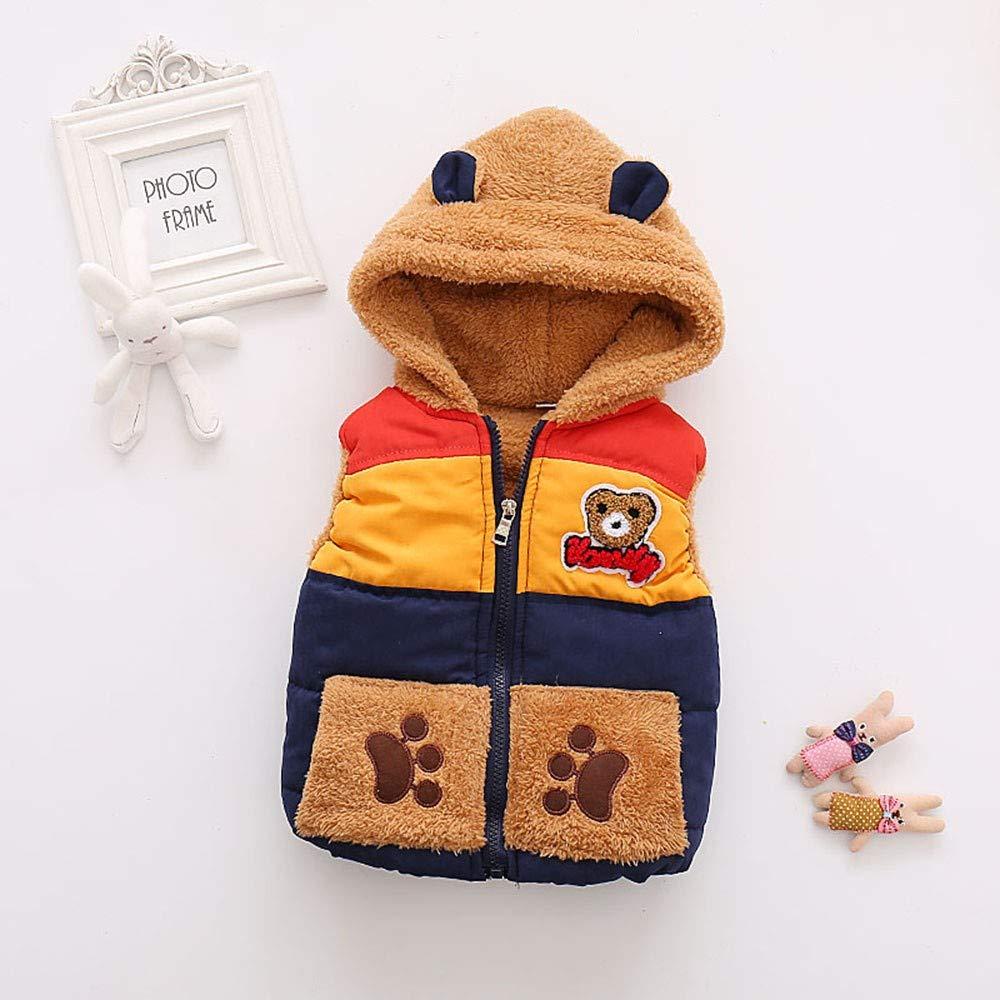 XoiuSyi,Fashion Cute Autumn Winter Boys Baby Kids Outerwear Bear Cartoon Hooded Warm Vest Coat Clothes Cotton