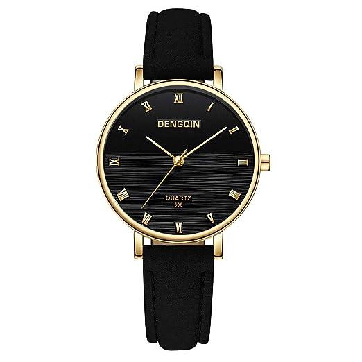 Reloj Casual, Moda para Mujer Reloj DENGQIN de primeras Marcas Relojes de Cuero para Mujeres: Amazon.es: Relojes