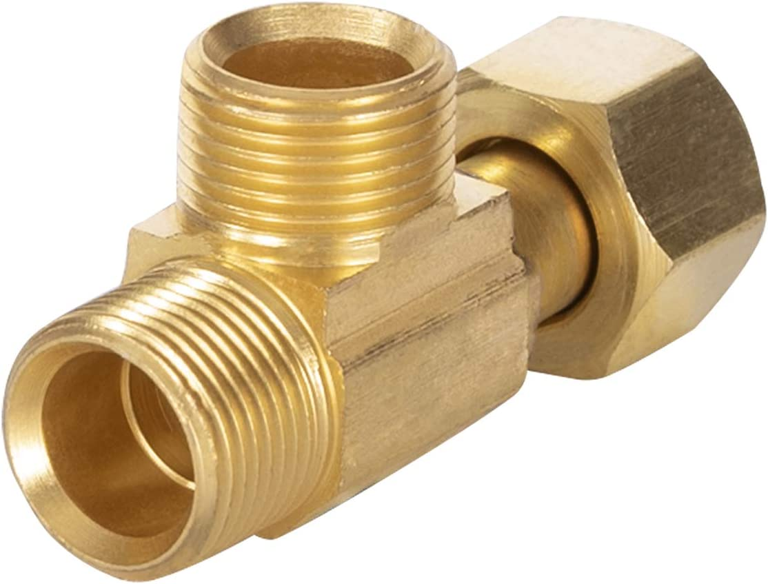 MIDLINE VALVE G3338 Easy Connect Tee Lead Free Female Compression x 3/8-Inch Male, 3/8 in. x 3/8 in, Brass