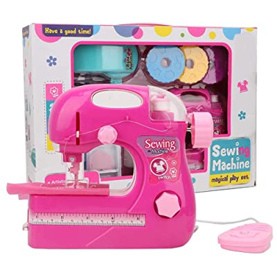 Simlug Máquina de Coser para niños, Rosa roja pequeña Manual del hogar Máquina de Coser para niños eléctrica Juego de Juguetes para el hogar: Hogar