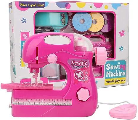 Máquina de coser simulación de juguete, rosa roja pequeño portátil hogar manual eléctrico DIY fabricante de ropa juguetes para niños: Amazon.es: Bebé