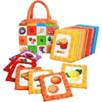 Aideal Baby First Book Early Learning Toys, 26pcs Baby's Non-Toxic Soft Cloth Book Intelligence Development Cards for Ages 3-Months Plus