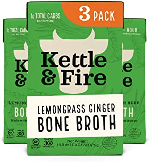 product image for Lemongrass Ginger Beef Bone Broth by Kettle and Fire, Pack of 3, Keto Diet, Paleo Friendly, Whole 30 Approved, Gluten Free, with Collagen, 10g of protein, 16.9 fl oz