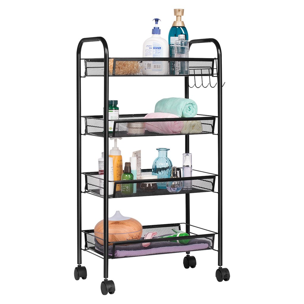 LANGRIA 4-Tier Bathroom Shelving Kitchen Island Utility Cart Facial Salon Spa Utility Organization Island Cart Easy Moving Flexible Wheels, 55 lbs Weight Capacity, Black