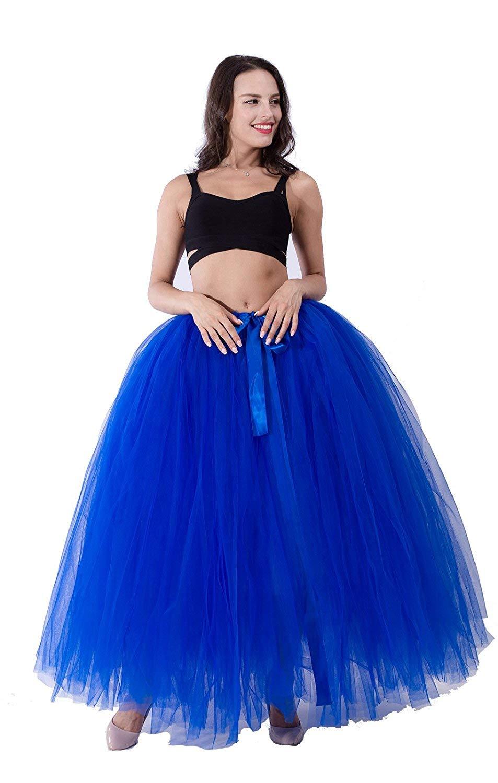 Handmade Maternity Photography Props Tutu Tulle Skirts Maxi Long for Photos Shoot (Royal Blue)