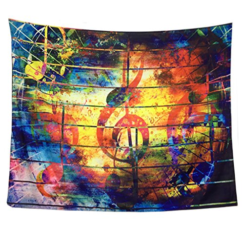 Music Tapestry Music Decor Wall Tapestry Wall Hanging Colorful Music Note Tapestry Psychedelic Bohemian Mandala Tapestry for Bedroom Home Decor