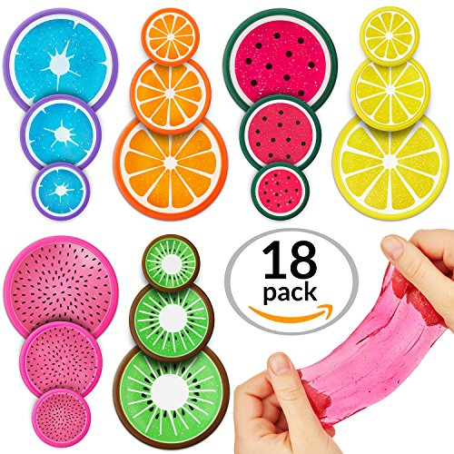 Slime Putty Toy Kit 18pc Multi Pack. Magic Crystal Scented Fruit Themed, Super Stretch Gel Soft, Water Based Toy Set. Fluffy For Kids, Adults, Birthdays, Parties. Stress Relief, Non-Toxic.