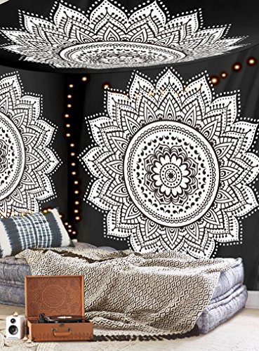 Labhanshi Black White Mandala Tapestry , Indian Hippie Wall Hanging , Bohemian Queen Wall Hanging, Bedspread Beach Tapestry 82x92 inch