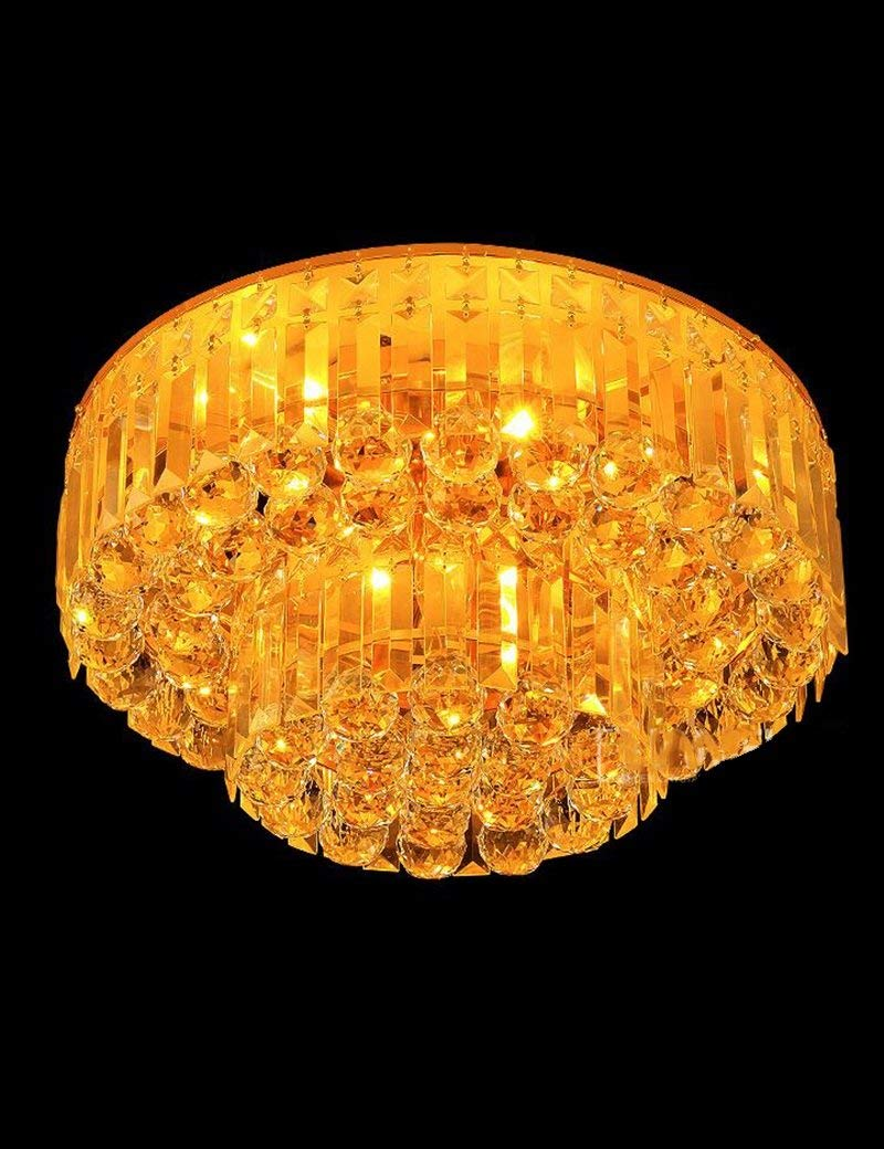 YANG Ceiling Light-Led Round Yellow Crystal Living Room Bedroom Hall Modern Atmosphere Home Energy Saving,45cm