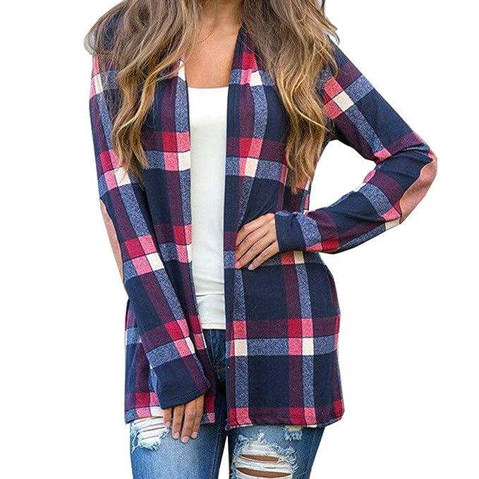MEIbax Moda mujer abrigos y tops calientes Abrigo de Chaqueta de Manga Larga a Cuadros Blusa con Frente Abierta de Las Mujeres Prendas de Abrigo: Amazon.es: ...