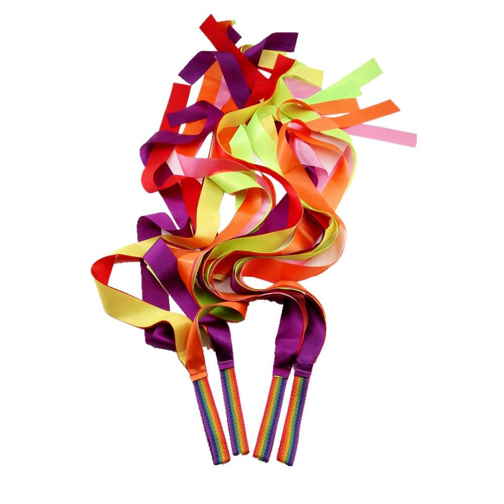 JBBERTH 1M Colorful Dancer Ribbons Ribbon Dancer Wand Rhythm Ribbon Dance Rainbow Ribbon Set for Kids- Set of 4.