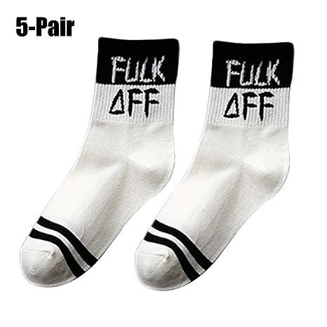 Fascigirl Calcetines de AlgodóN Letras, 5 Pares Calcetines para Mujer Calcetines Estampados Divertidos Calcetines AtléTicos