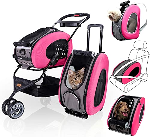 ibiyaya 5 in 1 Pet Carrier Backpack CarSeat Pet Carrier Stroller Carriers with Wheels for Dogs and Cats All in ONE