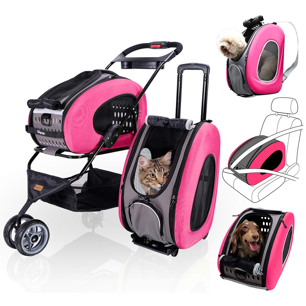 5 in 1 Pet Carrier + Backpack + CarSeat + Pet Carrier Stroller + Carriers with Wheels for Dogs and Cats All in ONE (Pink) by ibiyaya