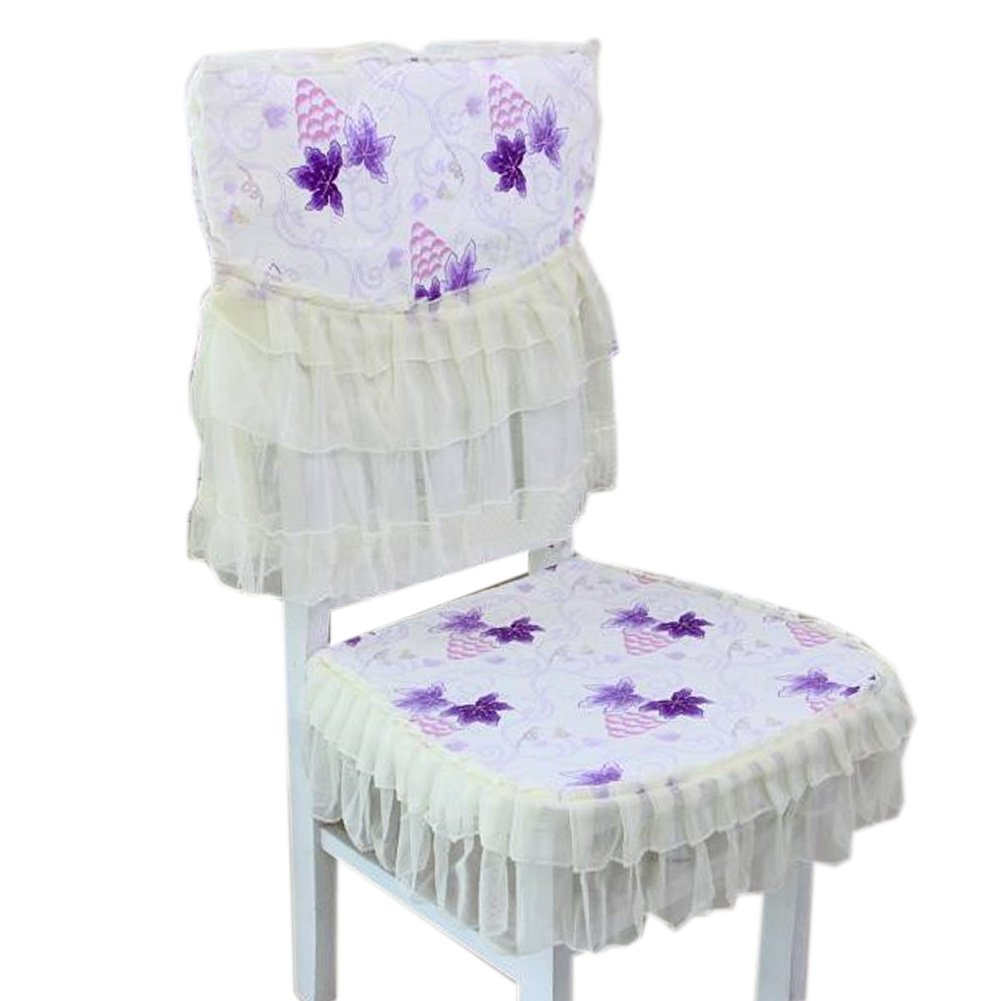 Country Style Dining Chair Slipcover Lace Romantic Cover, Purple Grape