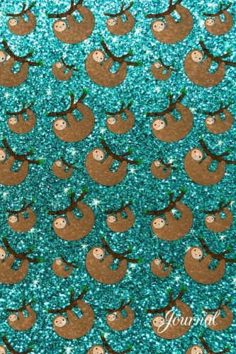 Journal: Faux Turquoise Glitter Sloth Notebook -