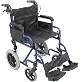 Aidapt Blue Deluxe Attendant Propelled Steel Wheelchair (Eligible for VAT relief in the UK)