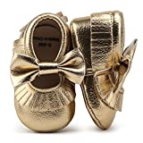 DELEBAO Infant Toddler Baby Soft Sole Tassel Bowknot Moccasinss Crib Shoes (6-12 Months, Gold)