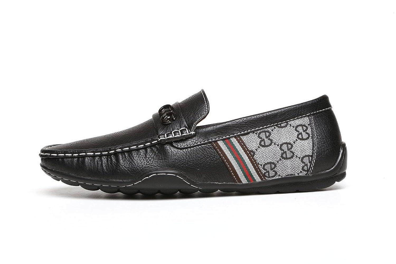 Hombre Negro Marrón GG Diseñador Sin Cordones Casual Verano Mocasines Conducción Moda zapatos núm. RU - sintético y tela, Negro, hombre, 41 EU