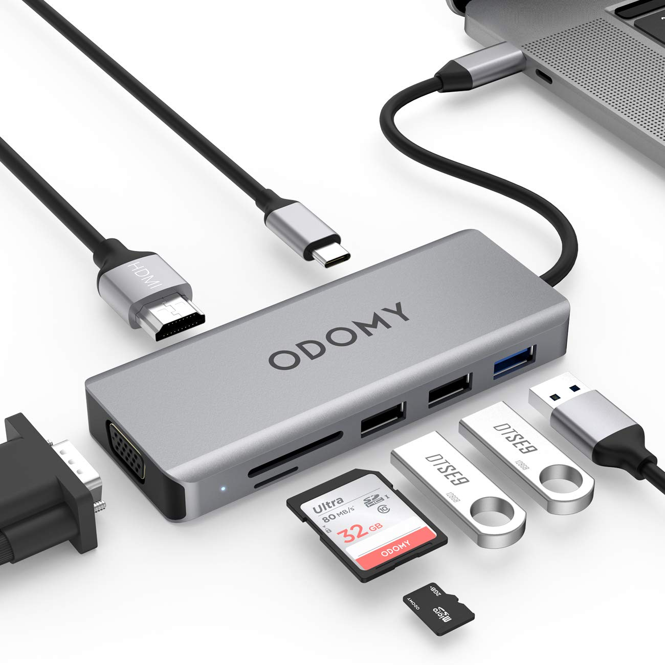 ODOMY USB C HUB 9-in-1 Type C Adapter 4K HDMI, VGA, 100W USB-C Power Delivery, 1 USB3.0, 2 USB2.0, SD/TF Card Reader, Audio Compatible with MacBook Air&Pro, Chromebook, Other Type C Laptops&Cellphones