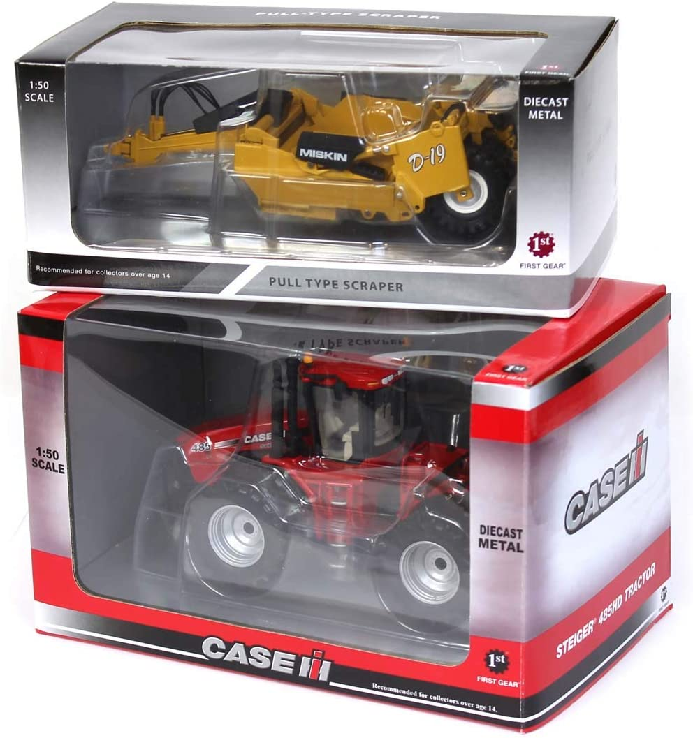 Case IH 1//50 485 Steiger 4WD w// Duals and Miskin D-19 Pull Type Scraper