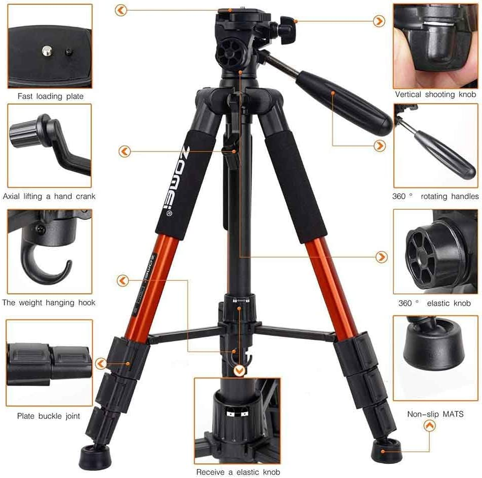 ZoMei Z666 Compact Light Weight Travel Portable Folding SLR Camera Tripod for Canon Nikon Sony DSLR Camera Video with Carry Case Orange