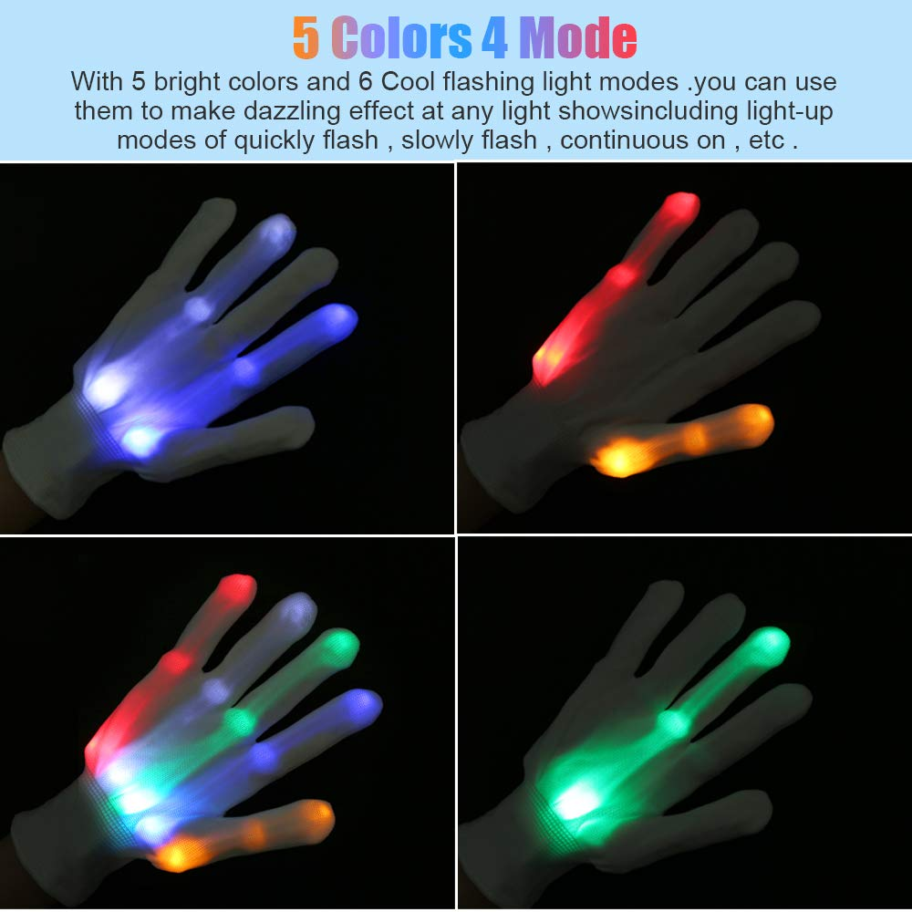 Yostyle LED Gloves, Children LED Light Up Glow Skeleton Gloves for Novelty, Halloween,Dance Costume,Kids Games,Light-up Party Concert Gifts,Dark Party Favor Sensory Glow Toys