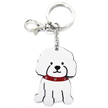 Amazon.com: foufou perro llavero (acrílico, Bichon: Mascotas