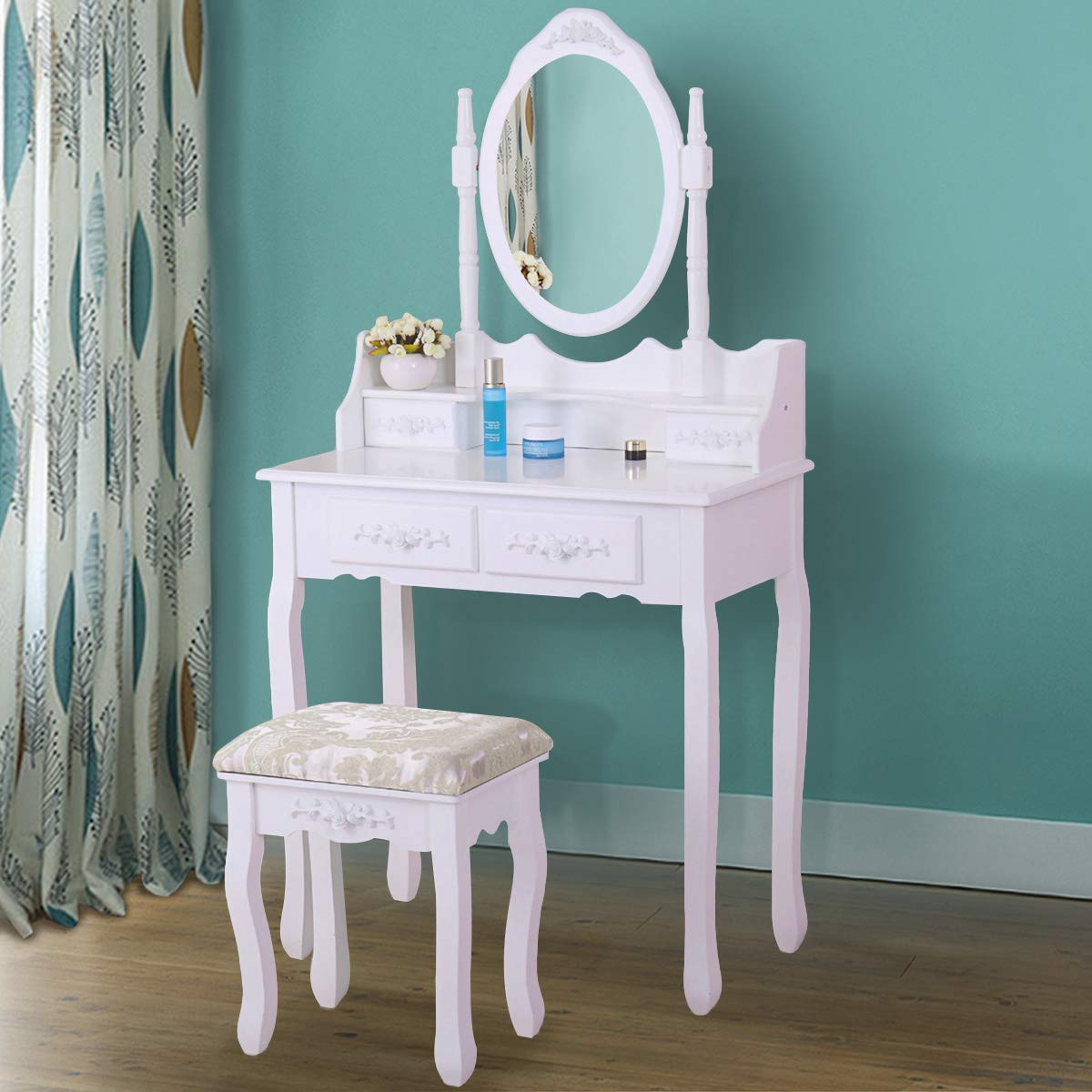 JAXSUNNY Vanity Table Set 4 Drawers with Mirror Dressing Table with Cushioned Stool Ancient Style for Women Girls,White