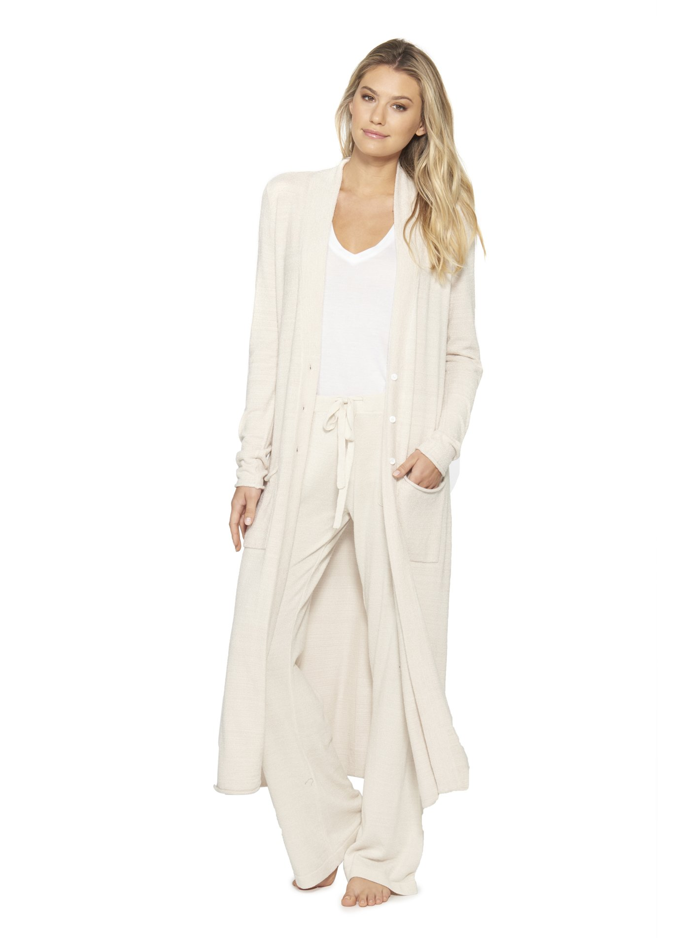 Barefoot Dreams CozyChic Ultra Lite Women's Duster, Long Sleeve, Open Front Long Maxi Cardigan Duster With Two Pockets-Sand Done, Beige,Medium