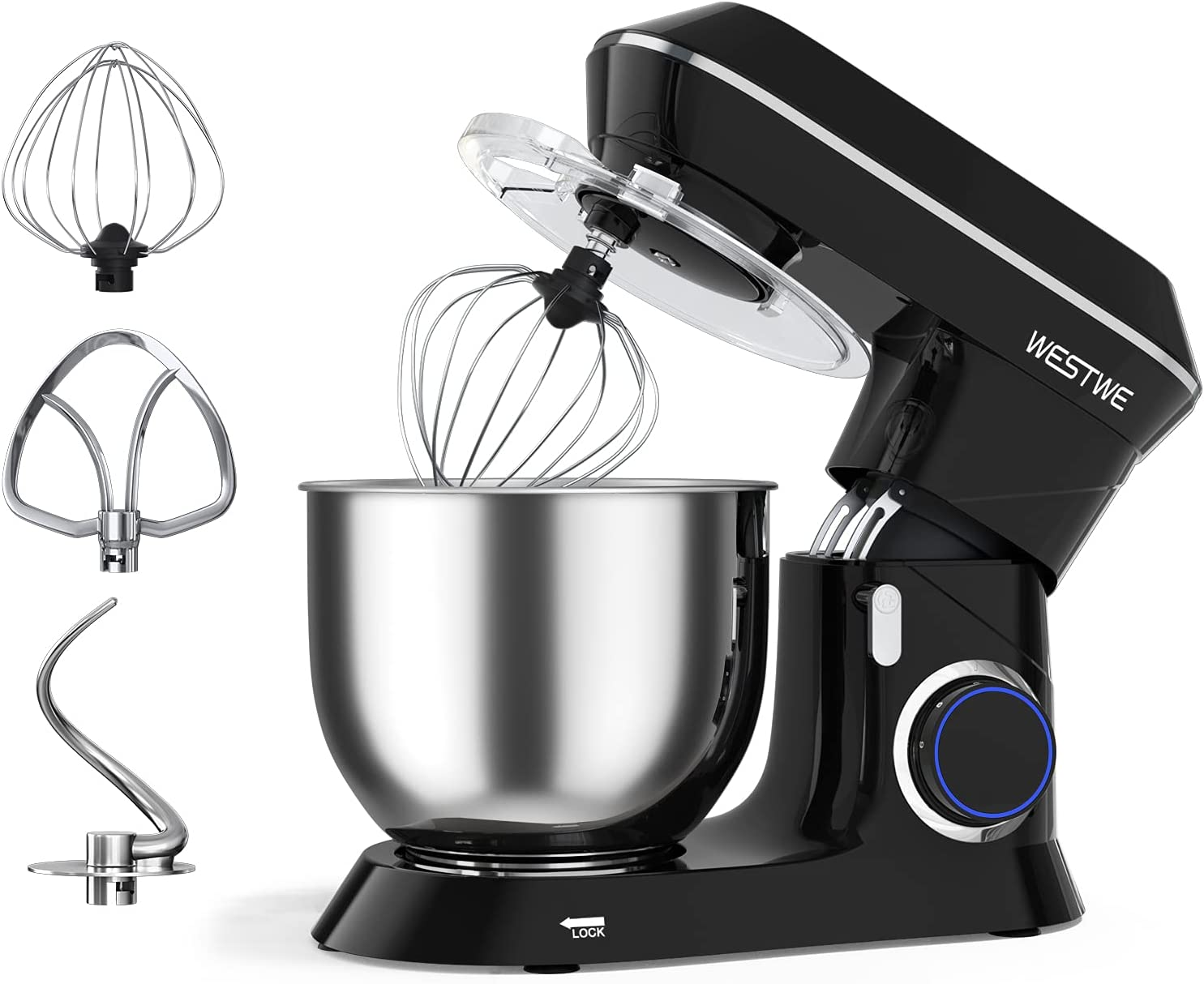 Stand Mixer, WESTWE 7Qt 660W Dough Mixer, 6+1 Speed Mixers Kitchen Electric Stand Mixer for Bread Dough, Stainless Steel Dough Hook, Mixing Beater and Whisk, Splash Guard, Egg Separator(Black, 7Qt)