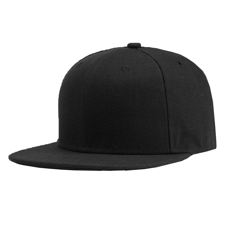 d1688cd3dbacbf Plain Solid Flatbill Snapback Hats Baseball Cap (Adjustable, Black) at  Amazon Men's Clothing store: