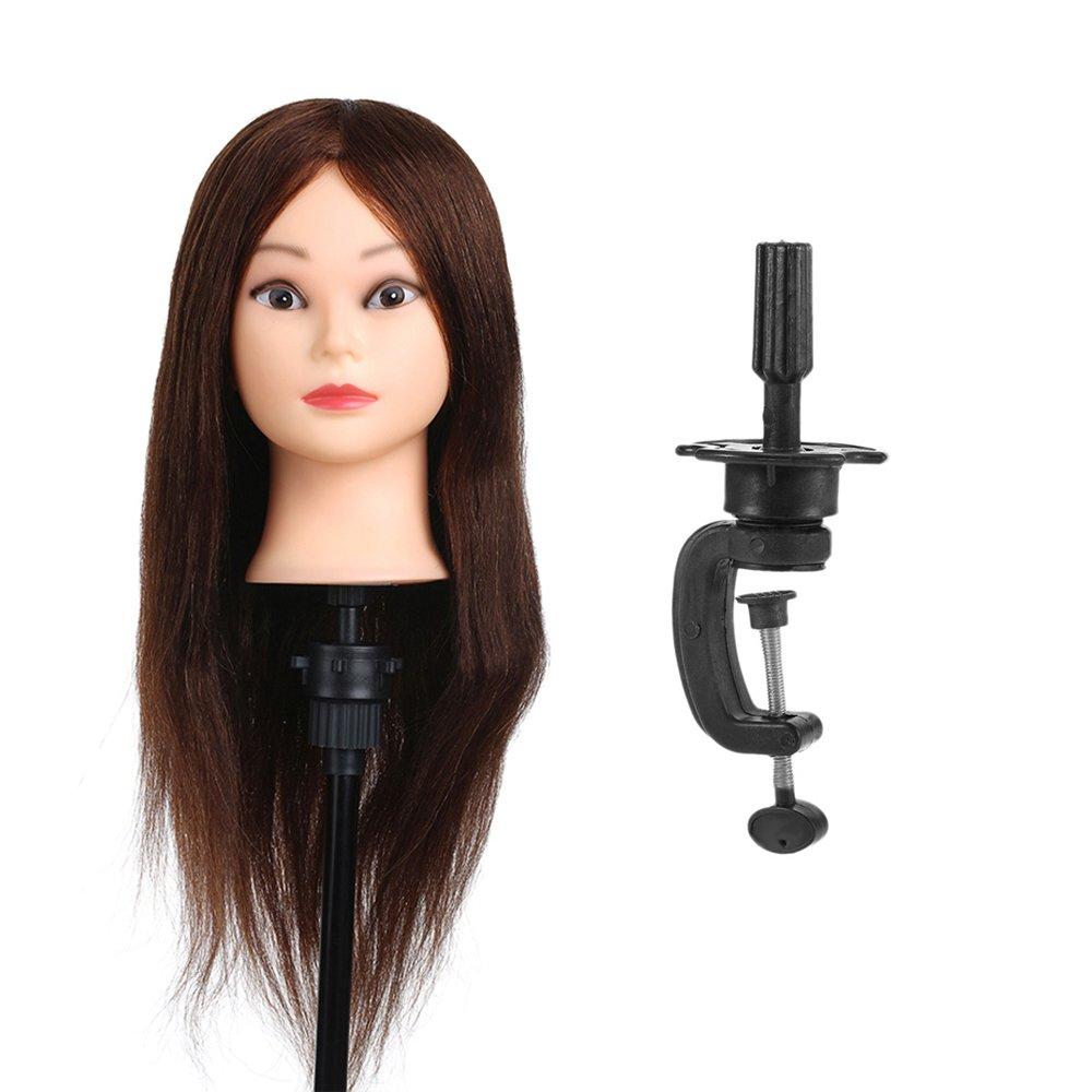 Anself 26 100% Real Human Hair Training Head Hair Practice Manikin Head Hairdressing Dummy Salon Head With Hair Clamp Holder