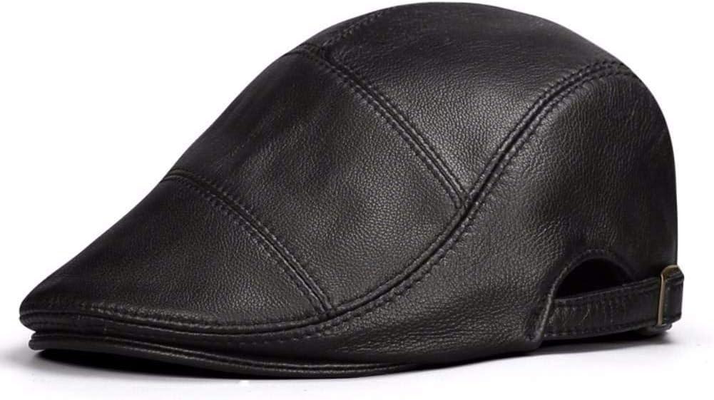 LIUXINDA-PM Mens Autumn and Winter Outdoor Casual Leather Cap Beret Cap