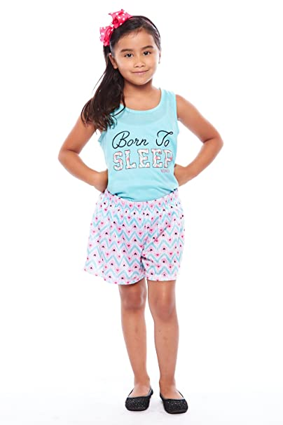 f2e99ae5a13c Amazon.com  Girls Kids Cute Sleep XOXO 2Pcs Seamless Top+Shorts PJ ...