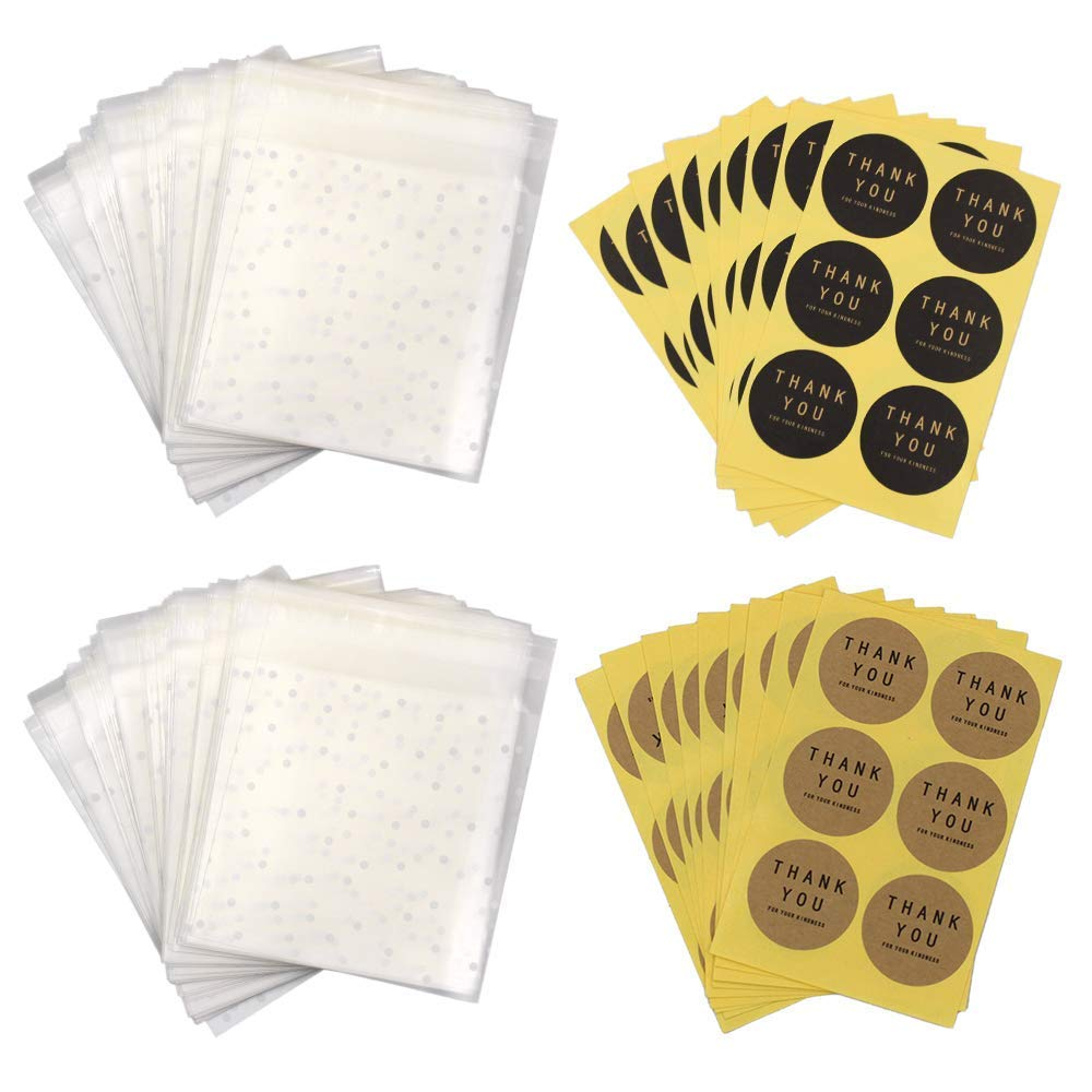 200 Pcs Transparent White Dots Self Adhesive Plastic Cookie Bags for Gift Giving+120 Thank You Labels (13cmx10cm) Md trade