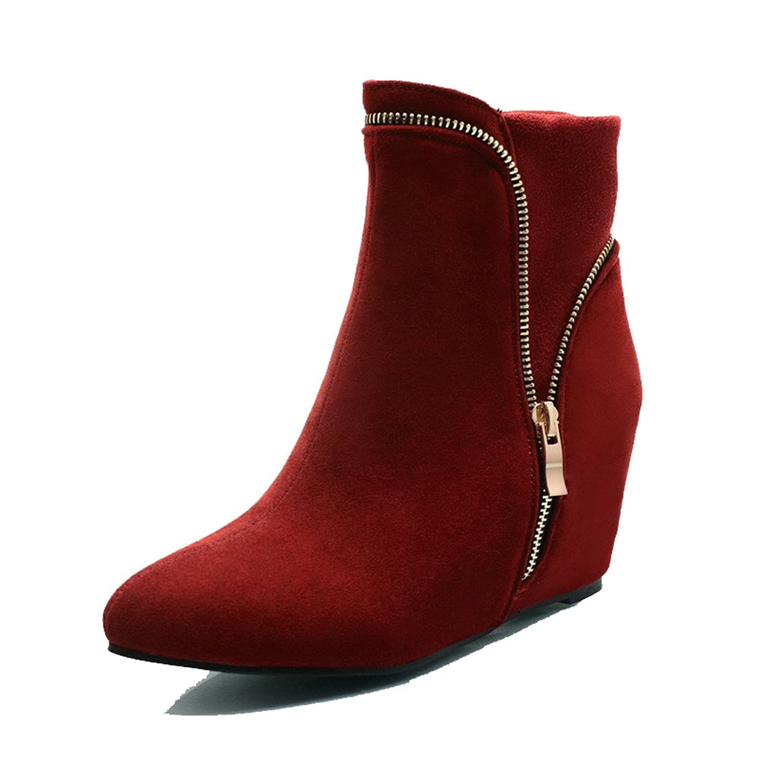 AmoonyFashion Women's Solid High-Heels Pointed Closed Toe Imitated Suede Zipper Boots