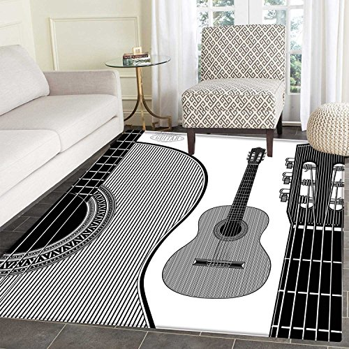 Guitar Area Rug Carpet Monochrome Design Striped Acoustic Classical Instruments Folk Country Music Concert Living Dinning Room and Bedroom Rugs 3'x4' Black White
