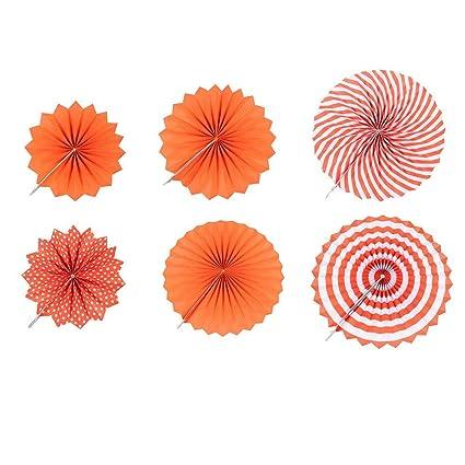 Buy Starnearby 6pcs Christmas Hanging Paper Fan Set, Orange Tissue